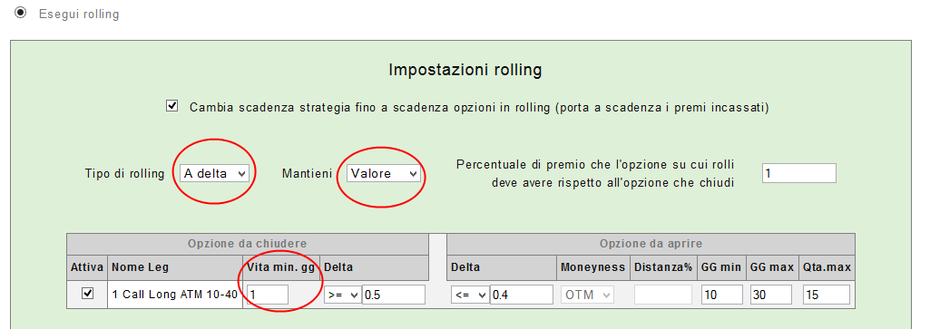 options backtest Impostazioni a delta 1